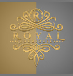 Classic luxurious letter r logo with embossed vector
