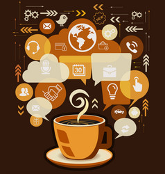 Coffee cup and business infographic design vector