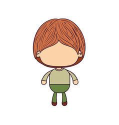Colorful caricature of faceless little boy with vector