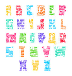 Colorful font with cracks trendy alphabet bright vector