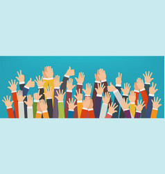 concept of raised up hands vector image