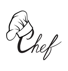Cook hat drawn lettering sign hat chef cook hat vector
