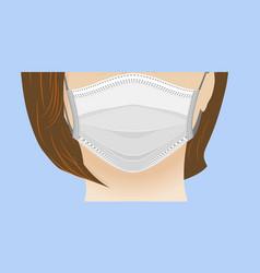 Coronavirus white medical mask on face of vector