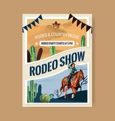 Cowboy poster design with man horse cactus vector