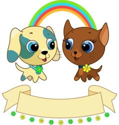 cute puppy and kitten vector illustration vector image