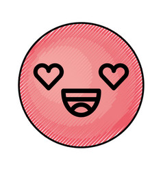 Cute red kawaii emoticon face vector
