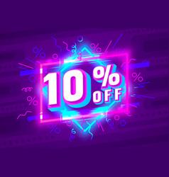 Cyber 10 off sale banner light neon flyer retro vector