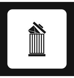 Delete letter in basket icon simple style vector