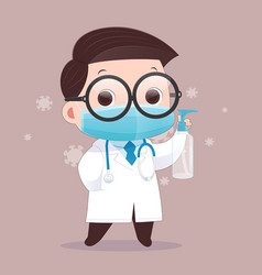 doctor wears a medical mask alcohol gel vector image