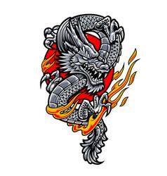 Dragon japanese tattoo art vector