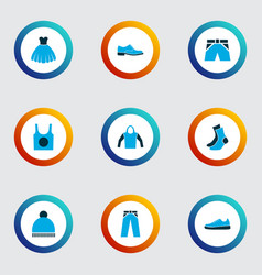 dress icons colored set with briefs half-hose vector image