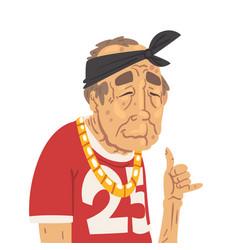 Fashion senior man character old man hip hop vector