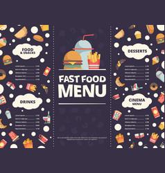 fast food menu design template restaurant menu vector image