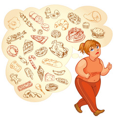 Fat woman dreams of high-calorie foods vector