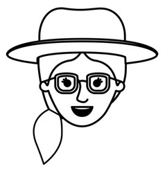 Female face with glasses and hat and pigtail vector