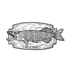 fish trophy engraving vector image
