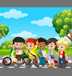 five children in the park vector image