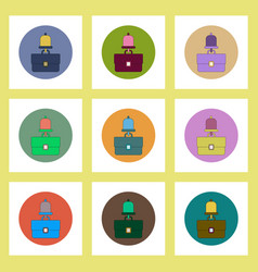 Flat icons set of back to school concept on vector