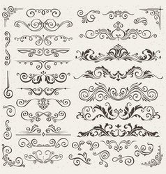Flourish border corner and frame elements vector