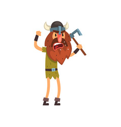 Furious viking cartoon character with axe vector