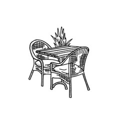 furniture in summer cafe - two chairs with table vector image