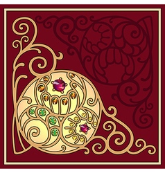 Gemstones golden filigree corner background vector