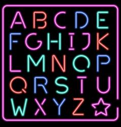 glowing multicolor neon typeface vector image