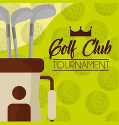 golf club on bag balls background vector image