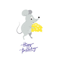 Greeting card template with cute funny rat or vector