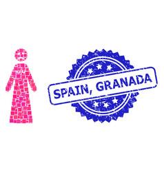 Grunge spain granada seal and square dot mosaic vector