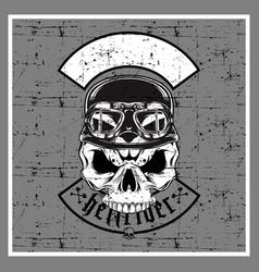 grunge style skull wearing retro helmet vector image
