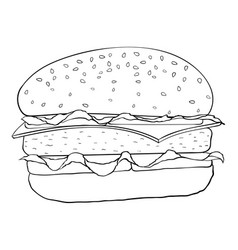 Hamburger black and white outline drawing vector