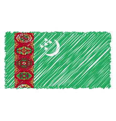 hand drawn national flag of turkmenistan isolated vector image