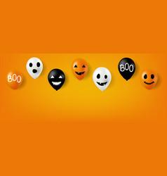 happy halloween balloons with orange background vector image