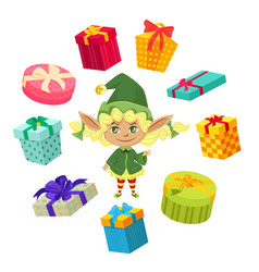 happy holidays elves preparing gifts for kids vector image