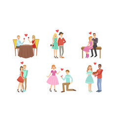 happy romantic loving couples collection young vector image