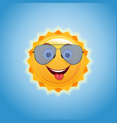 happy smiling sun in sunglasses a b vector image
