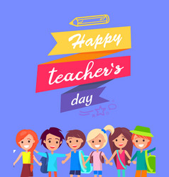happy teacher s day congratulation postcard vector image