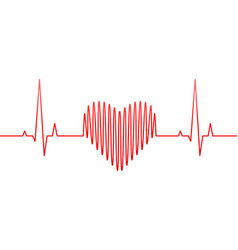 Heart rate line and wave as love or health concept vector