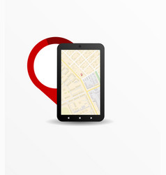 icon of black smartphone search places on the map vector image