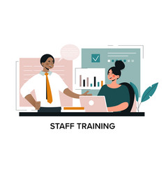 In house or hands on staff training concept vector