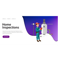 Inspector with checklist examines heating system vector