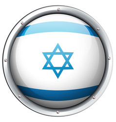Israel flag on round badge vector