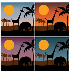 jungle scene silhouette with gradient sunset vector image