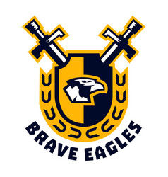 Logo brave eagles eagle head located on the vector