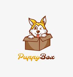 Logo puppy box mascot cartoon style vector