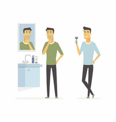 Man before and after shaving - cartoon people vector