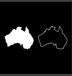 map of australia icon set white color flat style vector image