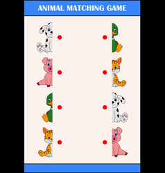 Matching halves game with farm animal characters vector