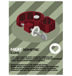 meat color isometric poster vector image
